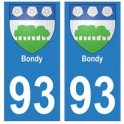 93 Bondy blason autocollant plaque stickers ville