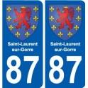 87 Saint-Laurent-sur-Gorre blason autocollant plaque stickers ville