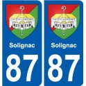 87 Solignac coat of arms sticker plate stickers city