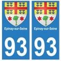 93 Epinay-sur-Seine blason autocollant plaque stickers ville