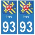 93 Gagny blason autocollant plaque stickers ville