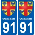 91 Chamarande coat of arms sticker plate stickers city