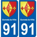 91 Gometz-la-Ville coat of arms sticker plate stickers city