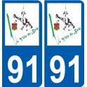 91 La Ville-du-Bois logo autocollant plaque stickers ville