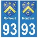 93 Montreuil coat of arms sticker plate stickers city