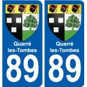 89 Quarré-les-Tombes coat of arms sticker plate stickers city