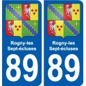 89 Rogny-les-Sept-écluses coat of arms sticker plate stickers city