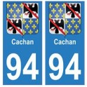 94 Cachanblason autocollant sticker plaque immatriculation ville
