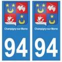 94 Champigny-sur-Marne blason autocollant sticker plaque immatriculation ville