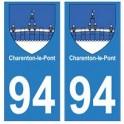 94 Charenton-le-Pont blason autocollant sticker plaque immatriculation ville