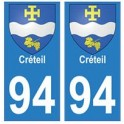 94 Créteil blason autocollant sticker plaque immatriculation ville