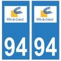 94 Créteil logo autocollant sticker plaque immatriculation ville