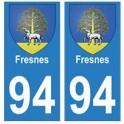 94 Fresnes blason autocollant sticker plaque immatriculation ville