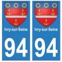 94 Ivry-sur-Seine blason autocollant sticker plaque immatriculation ville