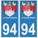 94 Le Kremlin-Bicêtre blason autocollant sticker plaque immatriculation ville