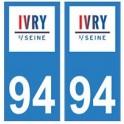 94 Ivry-sur-Seine logo autocollant sticker plaque immatriculation ville