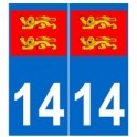 14 normandie autocollant plaque