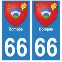 66 Bompas blason autocollant plaque ville