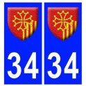 34 languedoc roussillon coat of arms sticker plate