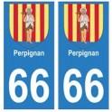 66 Perpignan blason autocollant plaque ville