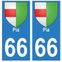 66 Pia blason autocollant plaque ville