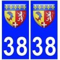 38 isere blason autocollant plaque