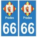 66 Prades blason autocollant plaque ville