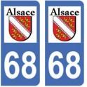 68 Haut Rhin autocollant plaque