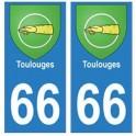 66 Toulouges blason autocollant plaque ville