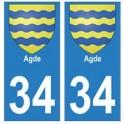 34 Agde blason autocollant plaque immatriculation ville