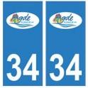 34 Agde logo autocollant plaque immatriculation ville