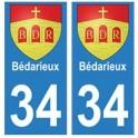 34 Bédarieux blason autocollant plaque immatriculation ville