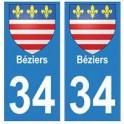 34 Béziers blason autocollant plaque immatriculation ville