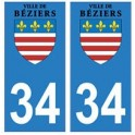 34 Béziers logo autocollant plaque immatriculation ville