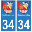 34 Castelnau-le-Lez blason autocollant plaque immatriculation ville