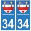 34 Clérmont-l'Hérault blason autocollant plaque immatriculation ville