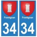 34 Frontignan blason autocollant plaque immatriculation ville