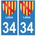 34 Lattes blason autocollant plaque immatriculation ville
