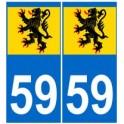 59 Flandres autocollant plaque