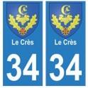 34 Le Crès blason autocollant plaque immatriculation ville