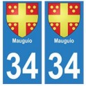 34 Mauguio coat of arms sticker plate registration city