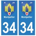 34 Montpellier coat of arms sticker plate registration city