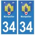 34 Montpellier blason autocollant plaque immatriculation ville