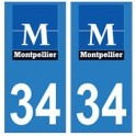 34 Montpellier logo sticker plate registration city