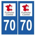 70 Haute-Saône autocollant plaque