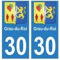 30 Grau-du-Roi ville autocollant plaque stickers