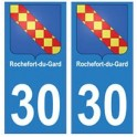 30 Rochefort-du-Gard ville autocollant plaque stickers