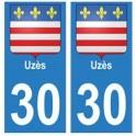 30 Uzès city sticker, plate sticker