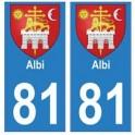 81 Albi blason autocollant plaque stickers ville