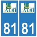 81 Albi logo autocollant plaque stickers ville